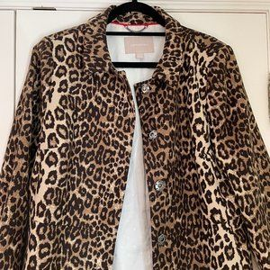BANANA REPUBLIC Animal Leopard Print Coat Size L
